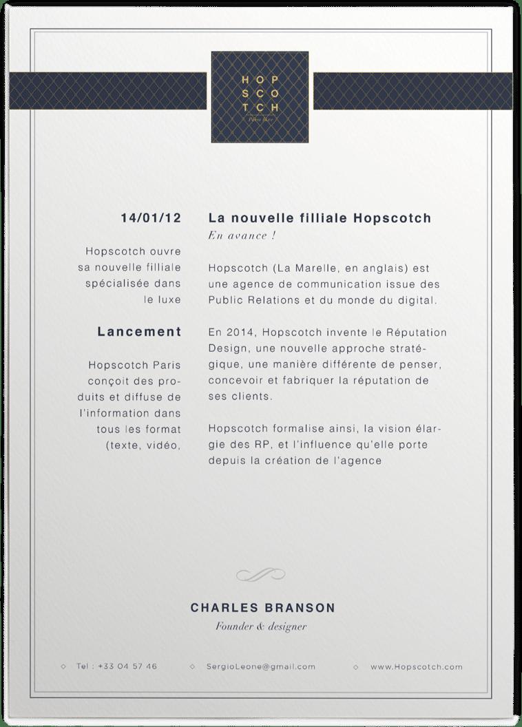 En-tête Hopscotch luxe
