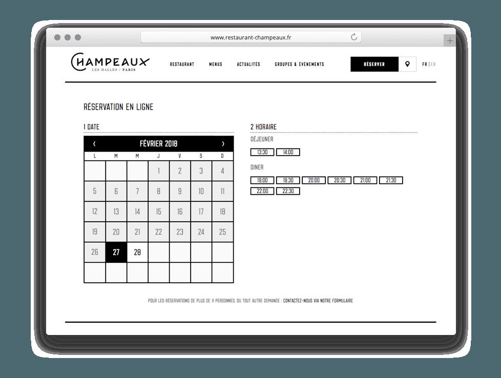Interface de réservation digitale restaurant Champeaux luxe