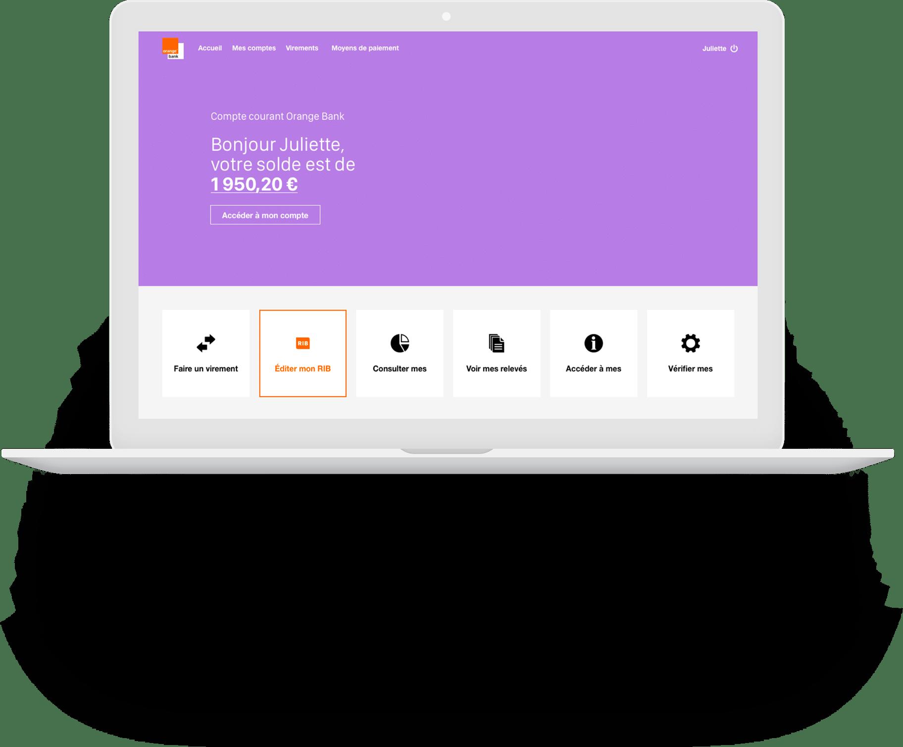 Macbook pro blanc avec un écran orange bank