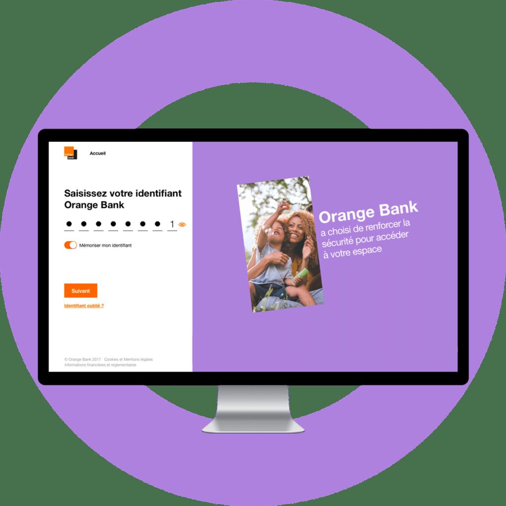 Orange Bank - Fond d'écran avec des iPhones et des écrans de l'application