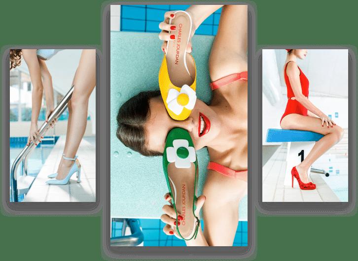 Visuel utilisé par Charles jourdan représentant une femme avec des paires de chaussures