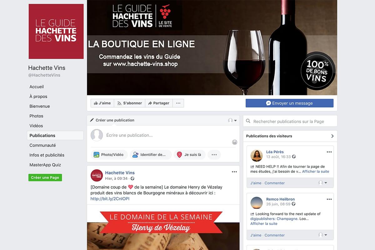 Page facebook de Hachette vin